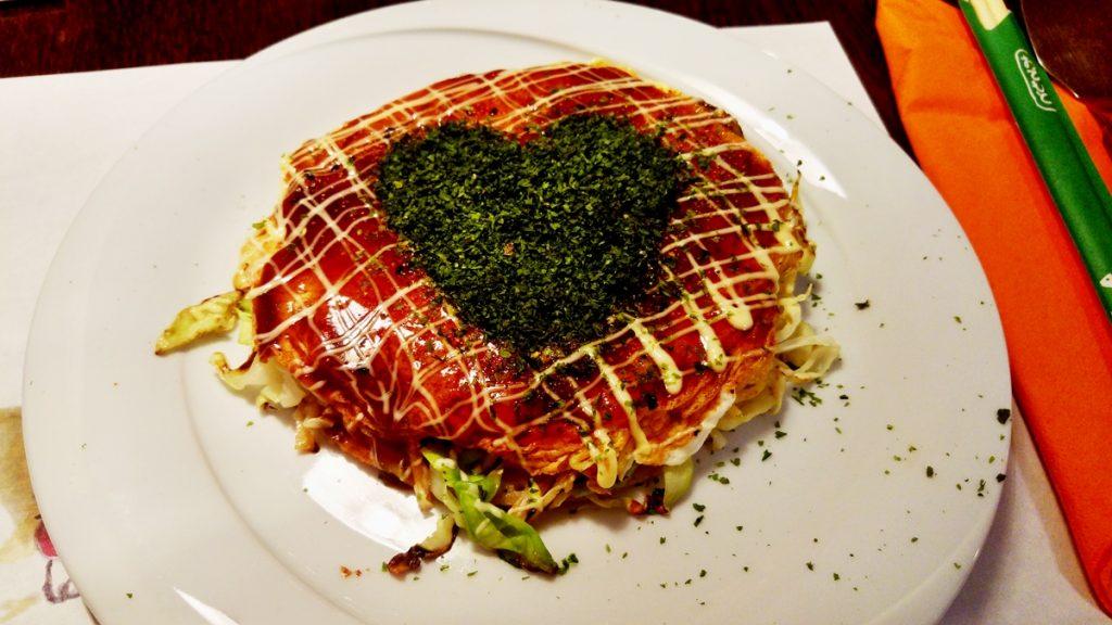 Urodzinowe okonomiyaki z serduszkiem.